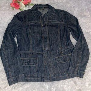 French Cuff belted jean jacket size medium